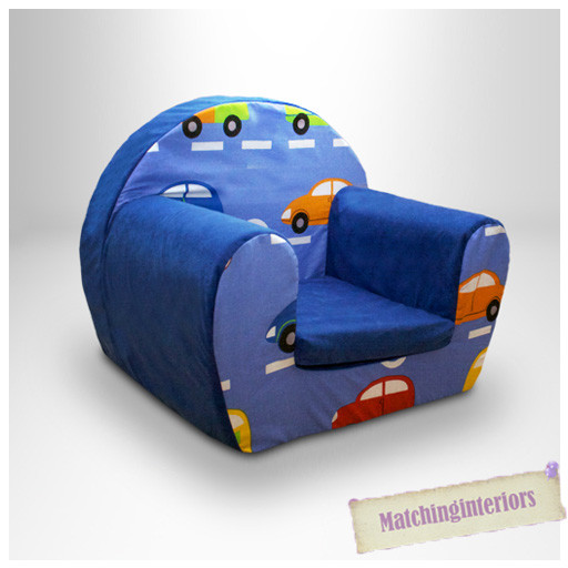 Kids Comfy Chair  Cars Traffic Blue Childrens Kids fy Foam Chair Toddlers