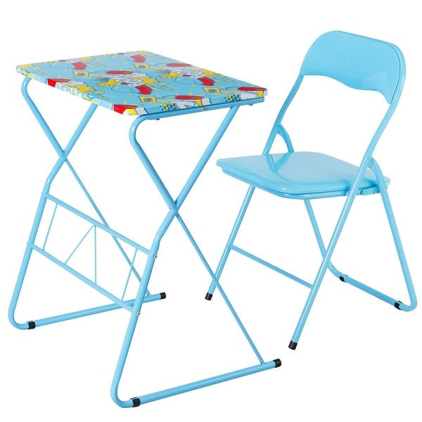 Kids Fold Up Table  Shop Costway Kids Folding Table Chair Set Study Writing