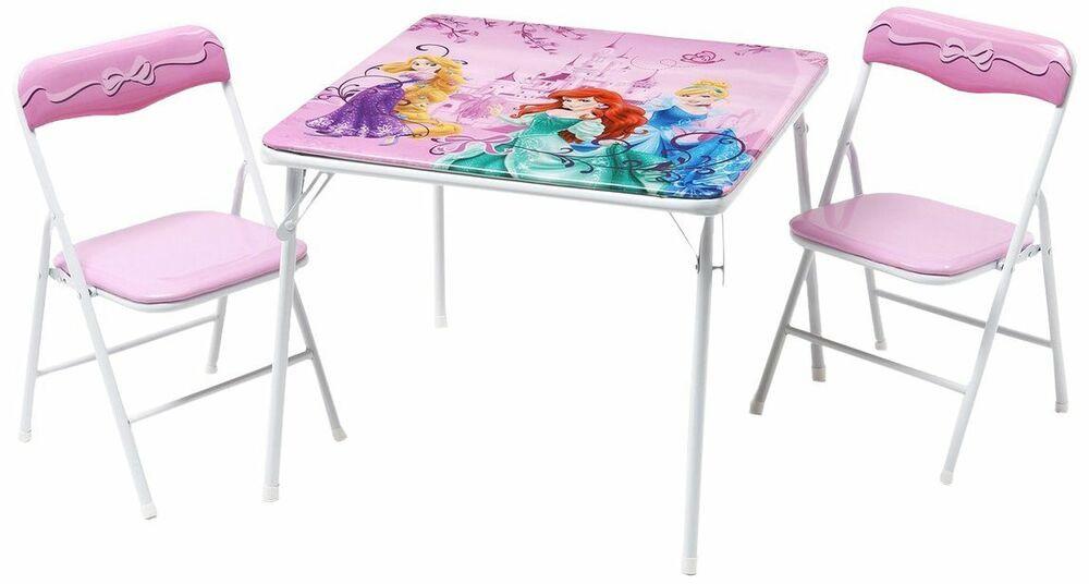 Kids Fold Up Table  Disney Princess Metal Table and Chairs Set Folding
