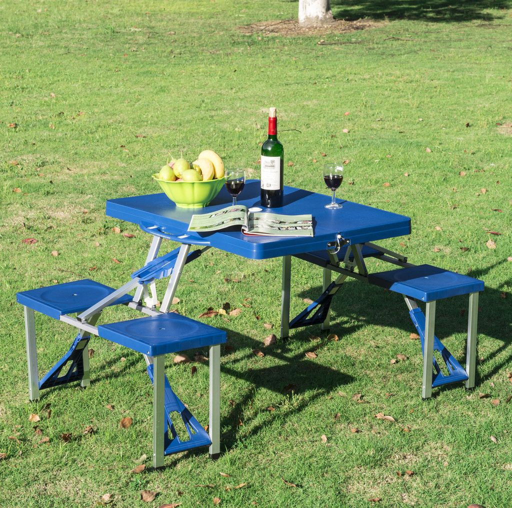 Kids Fold Up Table  Portable Folding Plastic Picnic Table Indoor Outdoor Kids