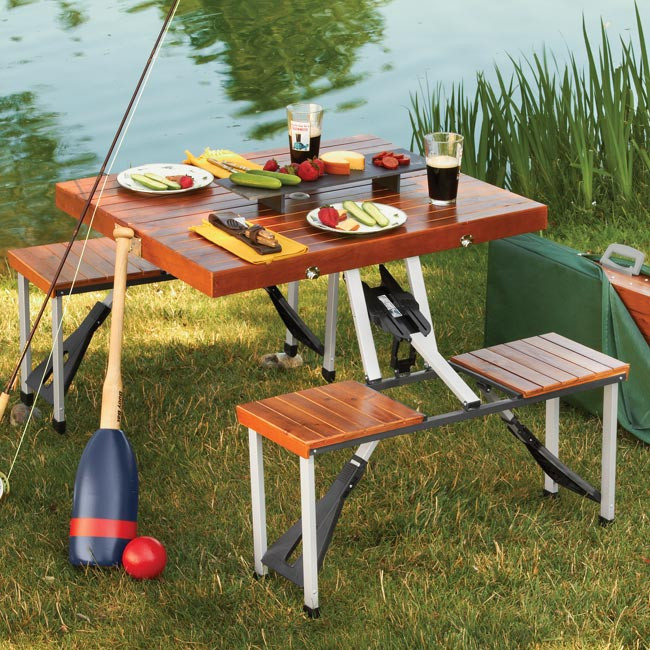 Kids Fold Up Table  Super Portable Picnic Table Folds Down To a Briefcase For