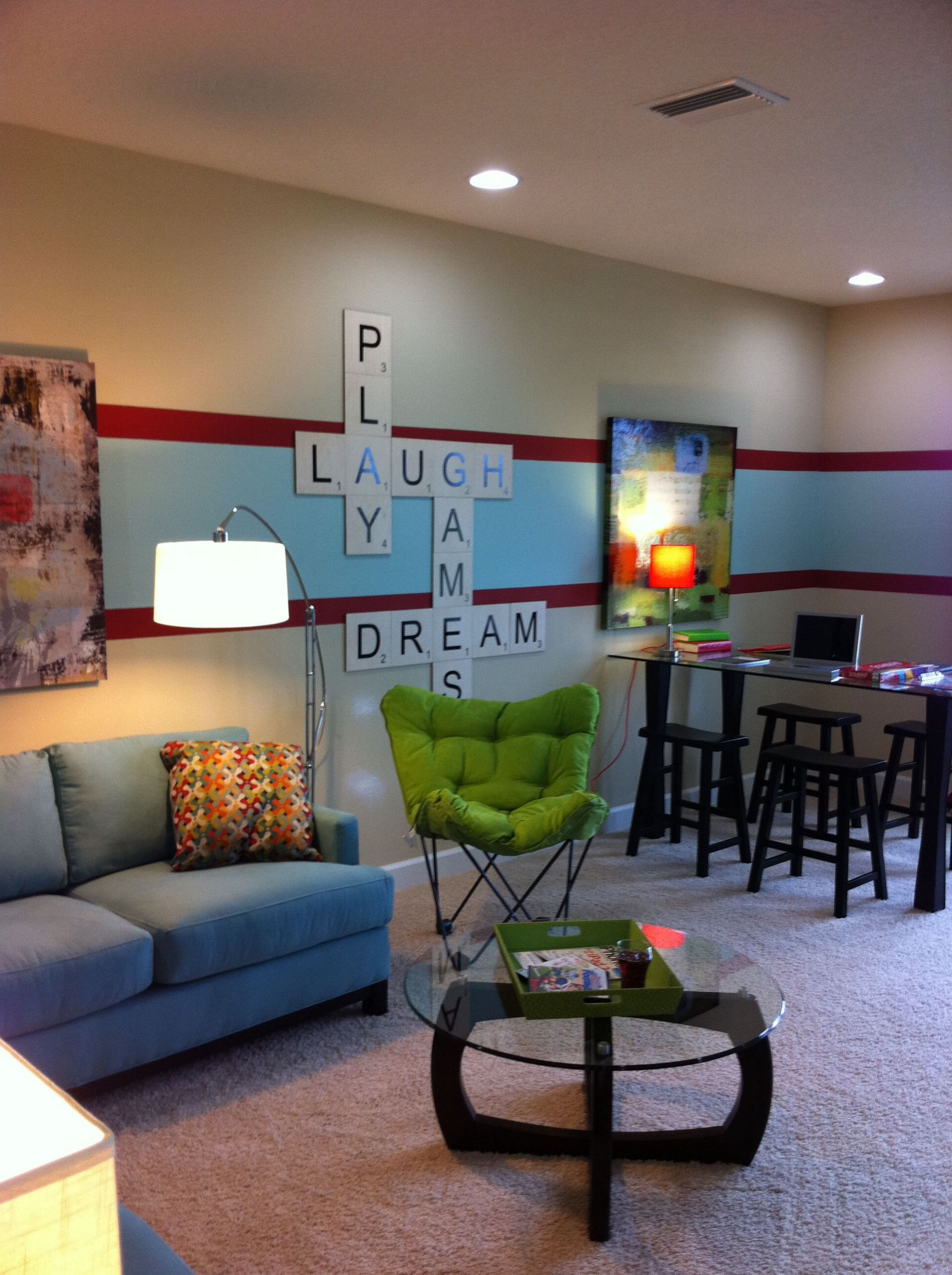 Kids Games Room Ideas  game room kids play room Love the scrabble letters So