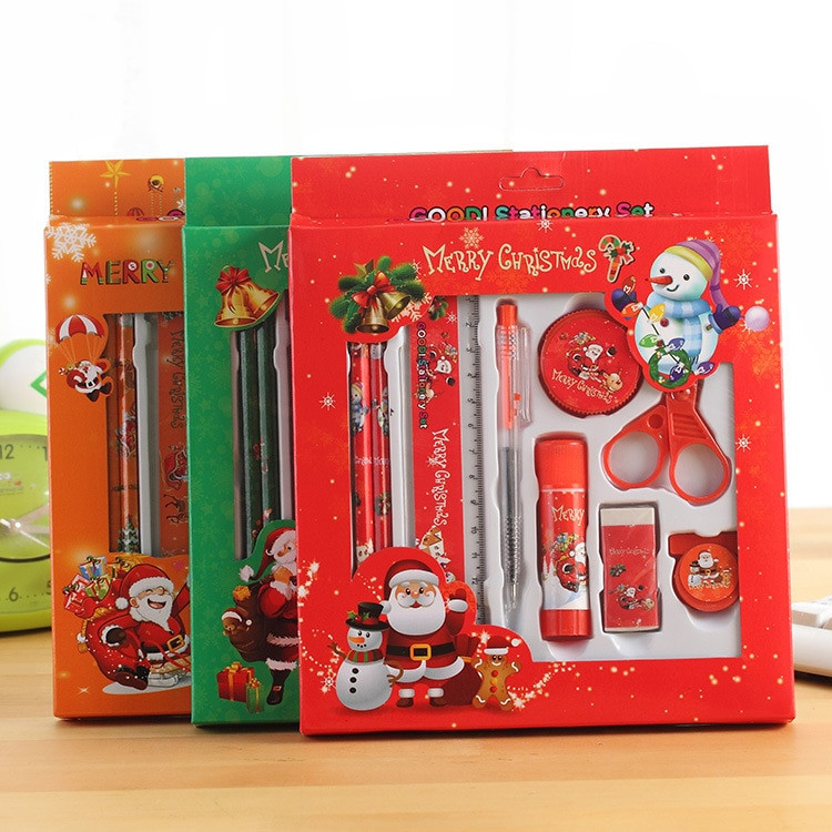 Kids Gift Sets  Cute Father Christmas Pencil Ruler Rubber Scissors Ball