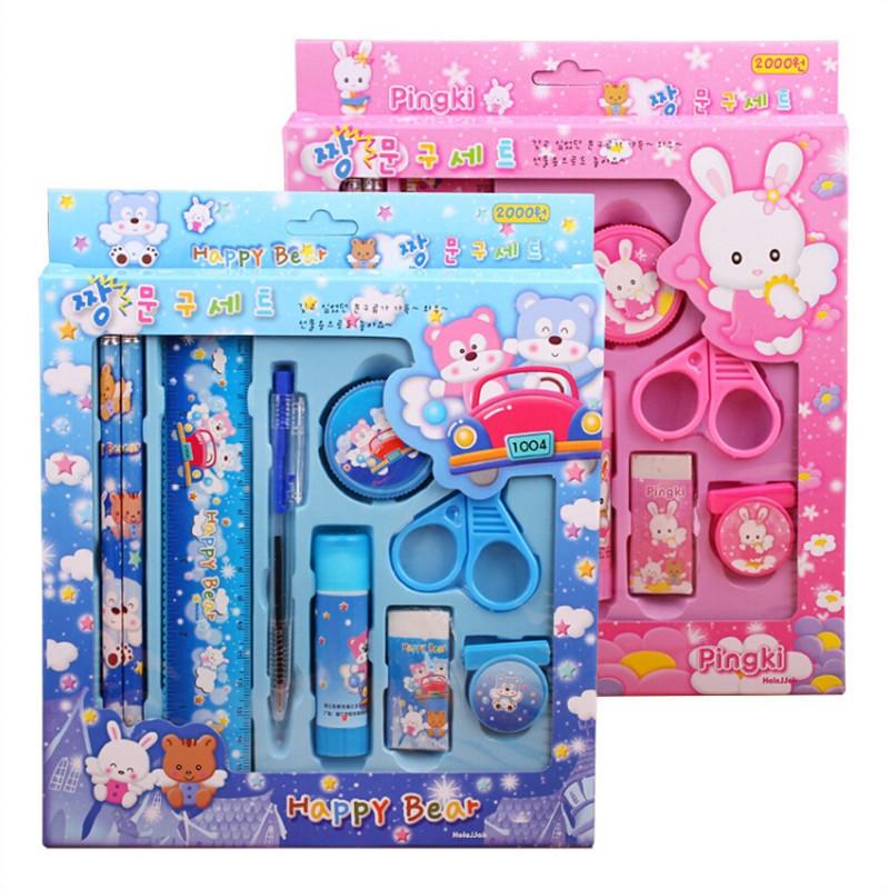 Kids Gift Sets  9pcs sets Kawaii Children Stationery Sets Kids Pencil Auto