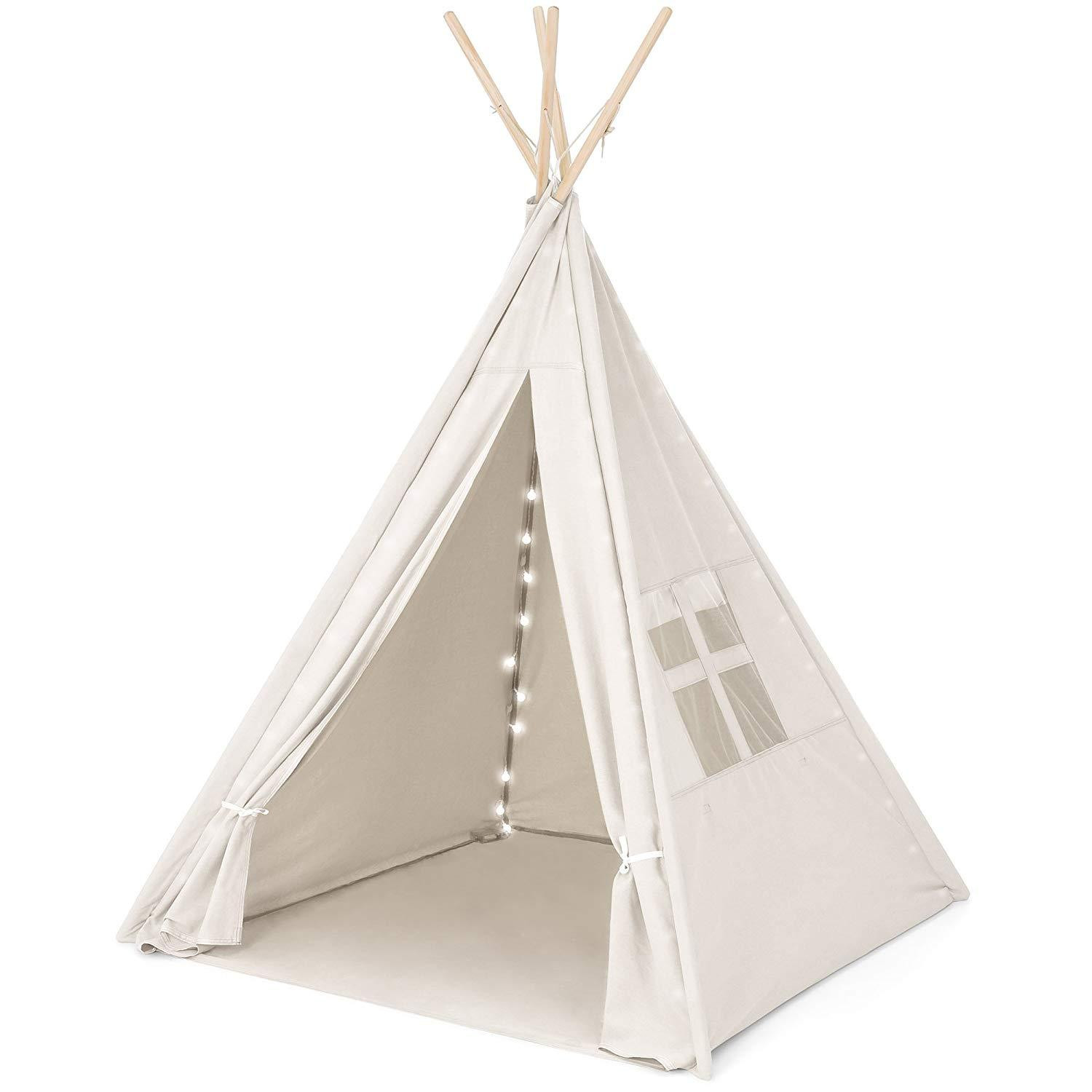 Kids Indoor Teepee  Kids Indoor Teepee Canvas Wooden 6 Foot Outdoor Playhouse