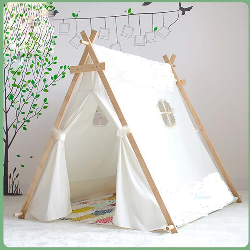 Kids Indoor Teepee  Lovely kid play tent white fabric teepee children bed tent