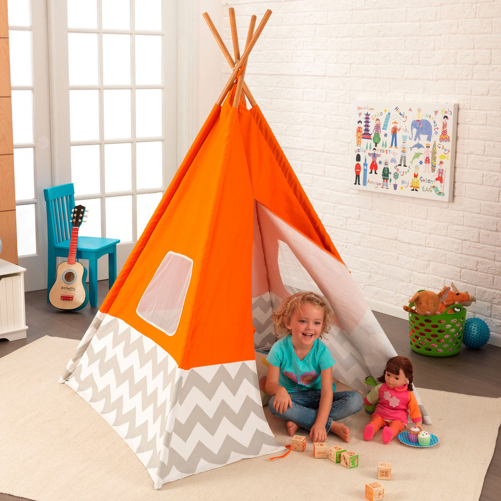 Kids Indoor Teepee  KidKraft Kids Child Deluxe Indoor Play Teepee in Orange