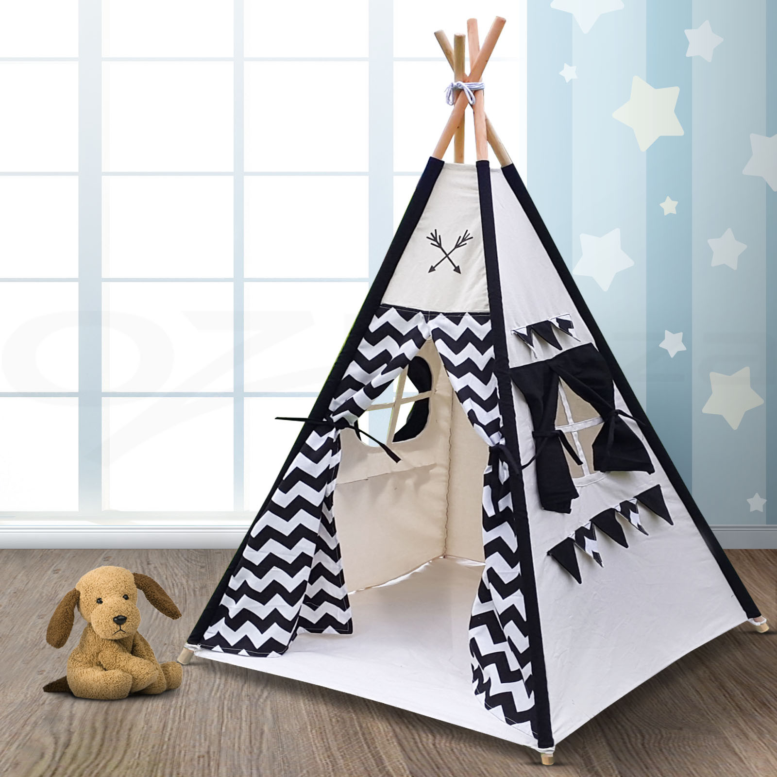 Kids Indoor Teepee  Keezi Kids Teepee Tent Children Pretend Play house Outdoor