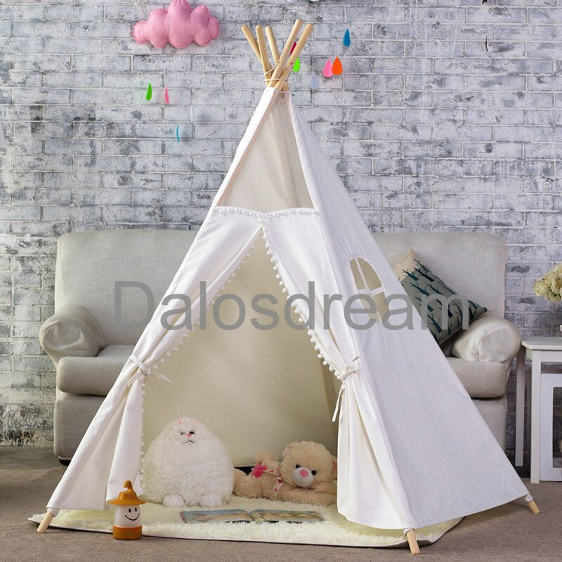 Kids Indoor Teepee  DalosDream Indian Kids Teepee Tent Solid Tipi Tent Cotton