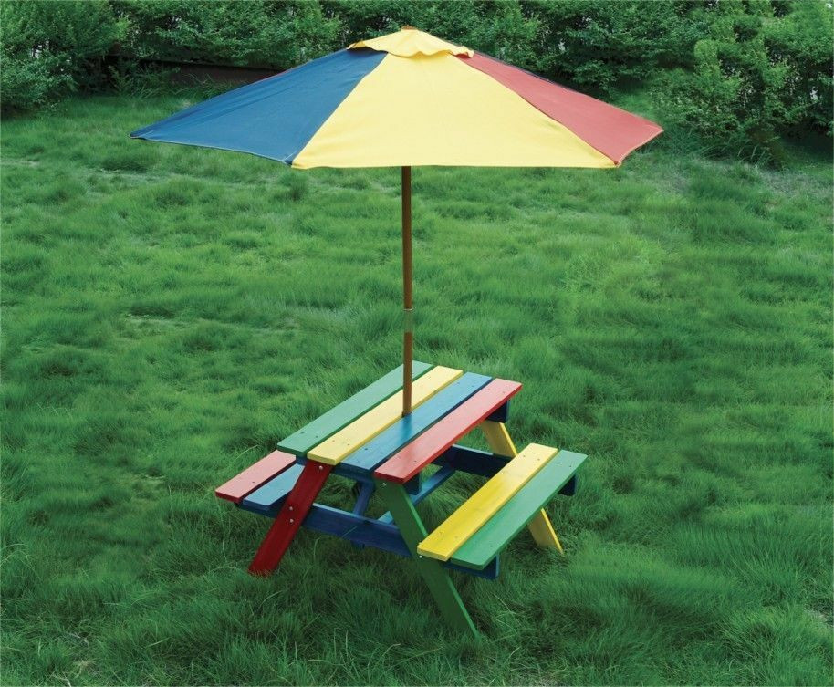 Kids Outdoor Table And Bench  Wooden Rainbow Garden Picnic Table Bench Parasol Set Kids