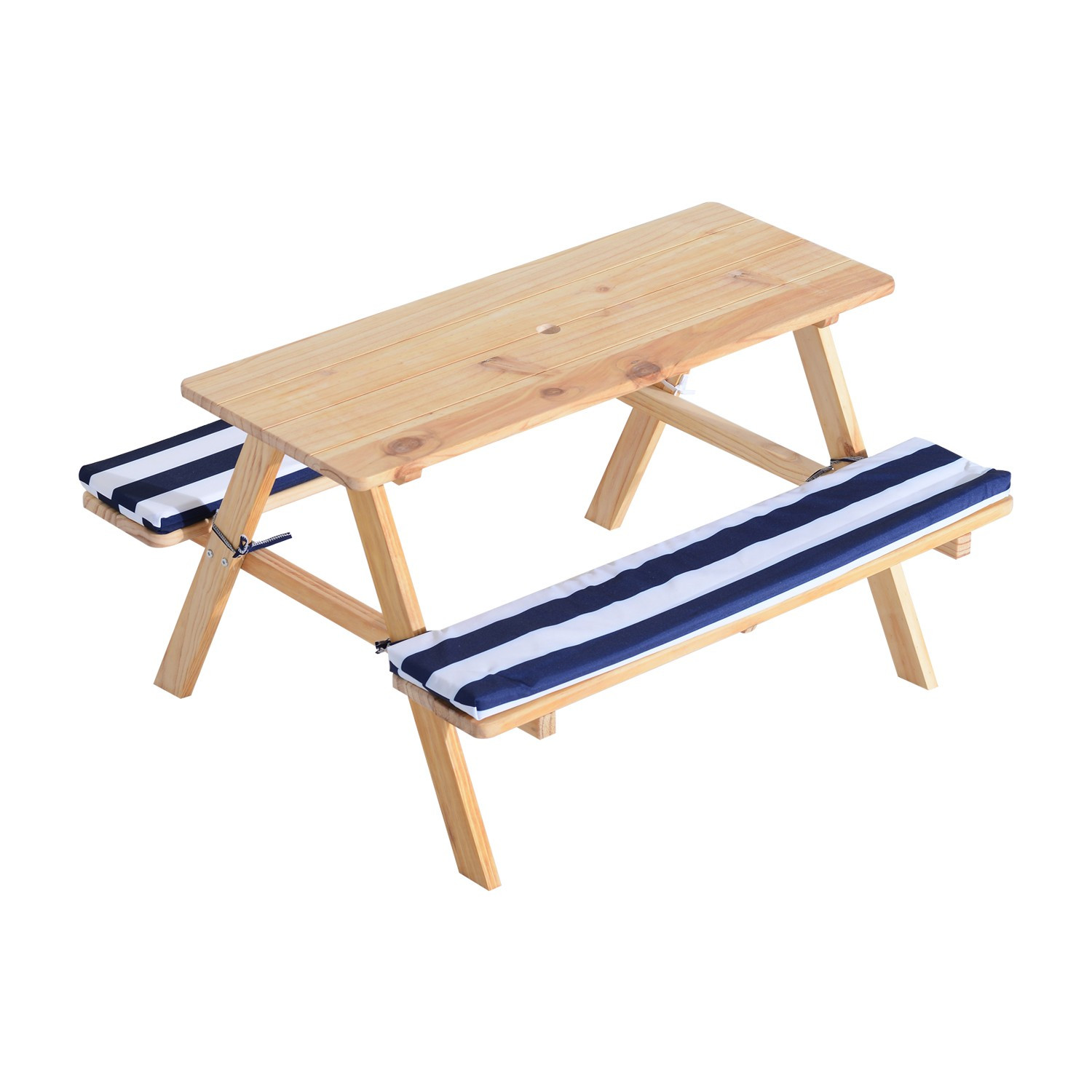 Kids Outdoor Table And Bench  Qaba Wooden Outdoor Kids Picnic Table with Padded Benches