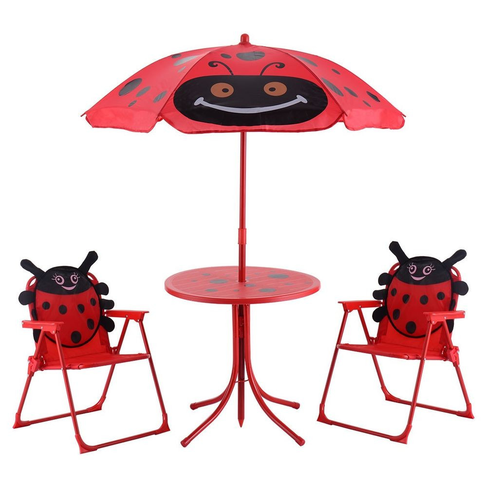 Kids Outdoor Table And Bench  Kids Patio Set Table And 2 Folding Chairs w Umbrella