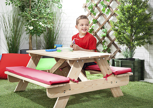 Kids Outdoor Table And Bench  Pink Children s Kids Outdoor Wood Play Picnic Table Bench