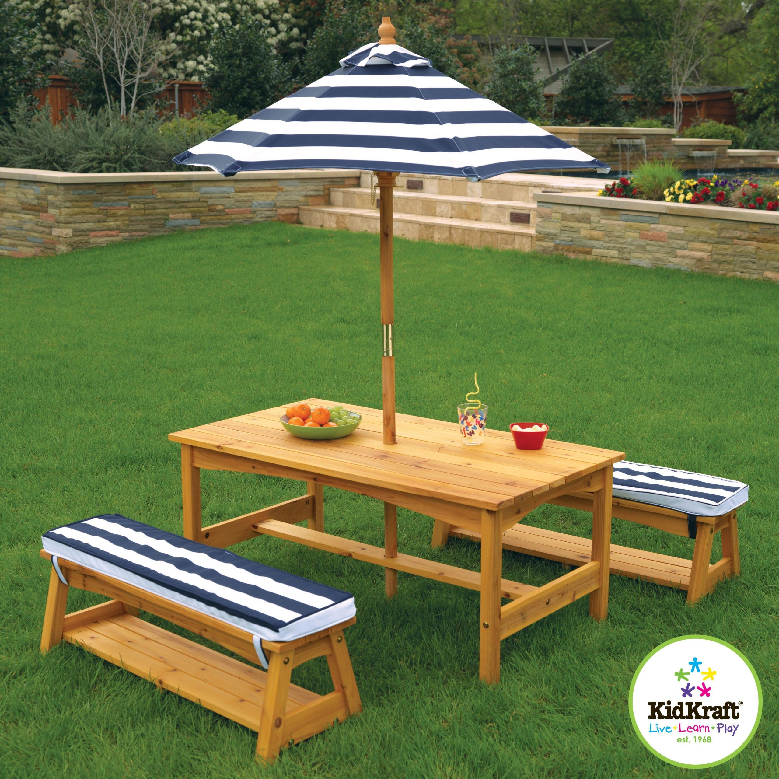 Kids Outdoor Table And Bench  KidKraft Outdoor Table & Bench Set With Cushions Umbrella