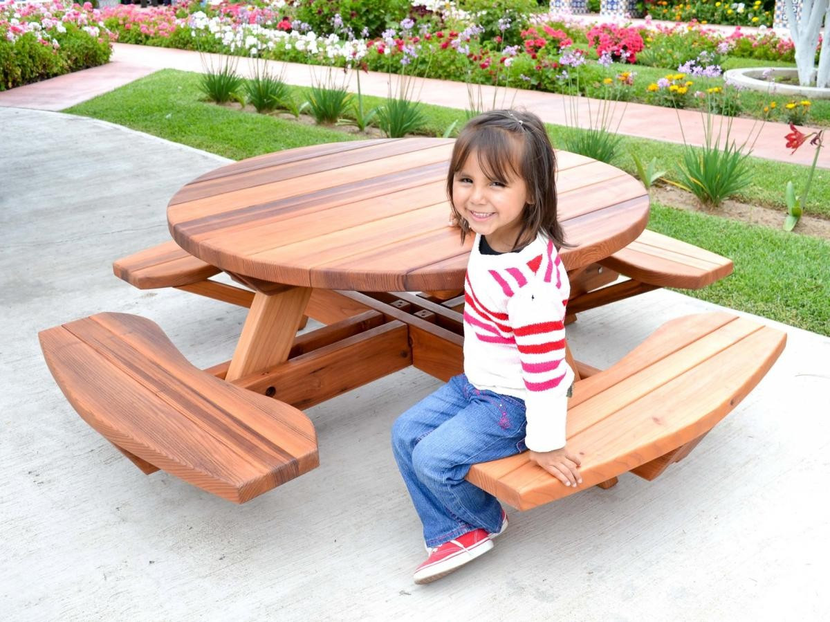 Kids Outdoor Table And Bench  Kid Size Round Wood Picnic Table Kit