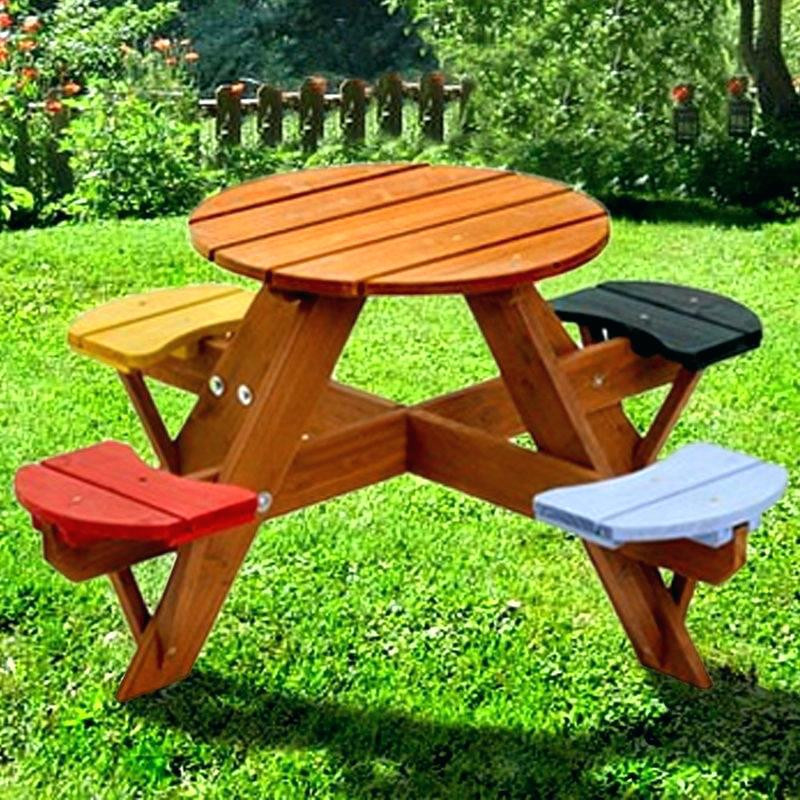Kids Outdoor Table And Bench  Kids Table Umbrella Picnic Play Furniture Outdoor And