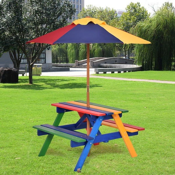 Kids Outdoor Table And Bench  Shop Costway 4 Seat Kids Picnic Table w Umbrella Garden
