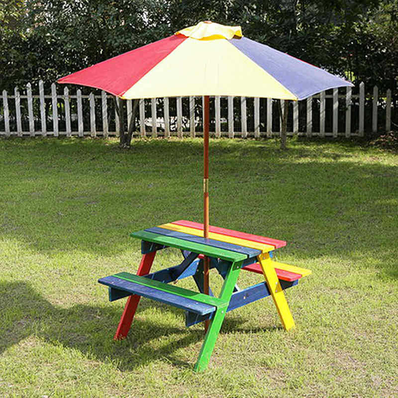 Kids Outdoor Table And Bench  Kids Picnic Bench with Parasol