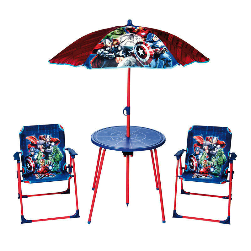 Kids Outdoor Table And Bench  MARVEL AVENGERS Kids Garden Table and Chairs Set Parasol