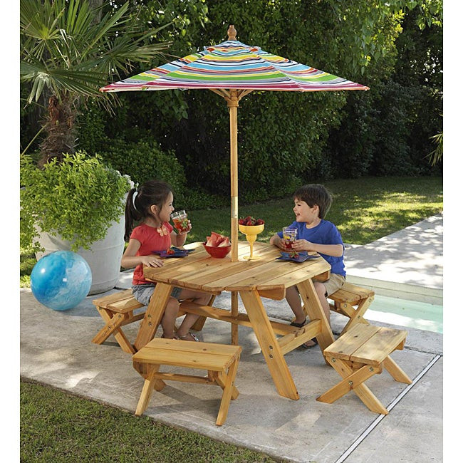 Kids Outdoor Table And Bench  Octagon Table & 4 Benches with Multi striped Umbrella