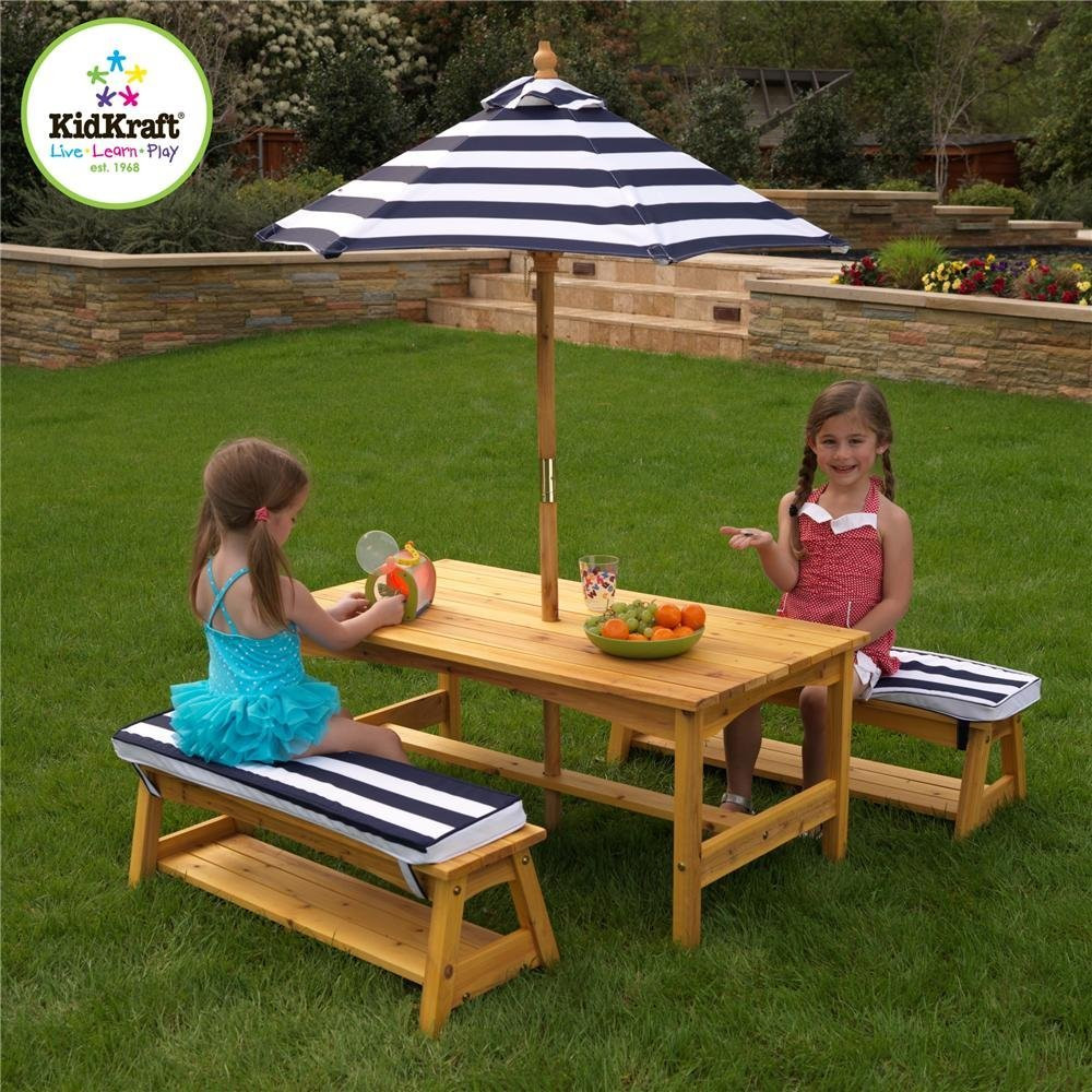 Kids Outdoor Table And Bench  KidKraft Outdoor table and Chair Set with Cushions and