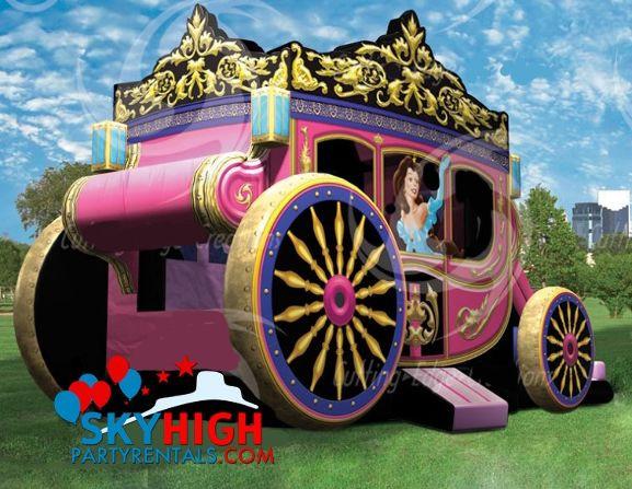 Kids Party Rental Houston  Houston Princess Carriage Moonwalk with Slide Rentals