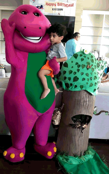 Kids Party Rental Houston  Barney mascot costumed character birthday party in Houston