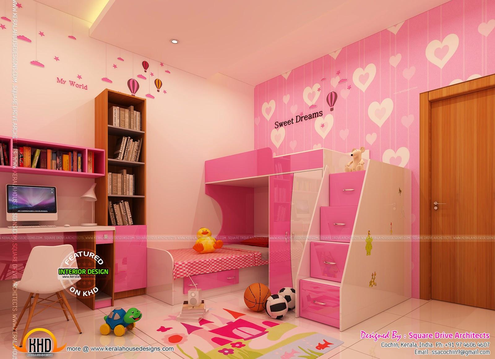 Kids Room Interior  Home interiors designs Kerala home design and floor plans