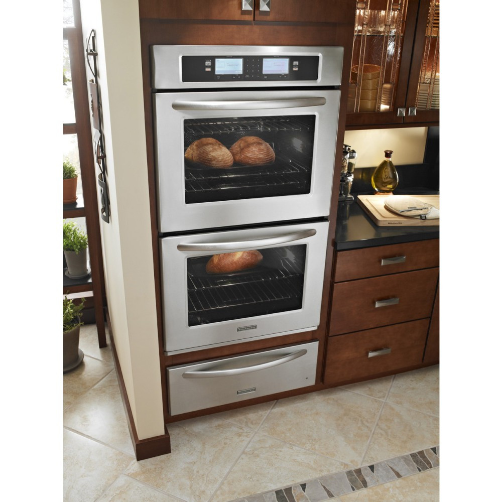 """Kitchen Aid Wall Oven  KitchenAid KEBU208SSS 30"""" Double Steam Assist Electric"""