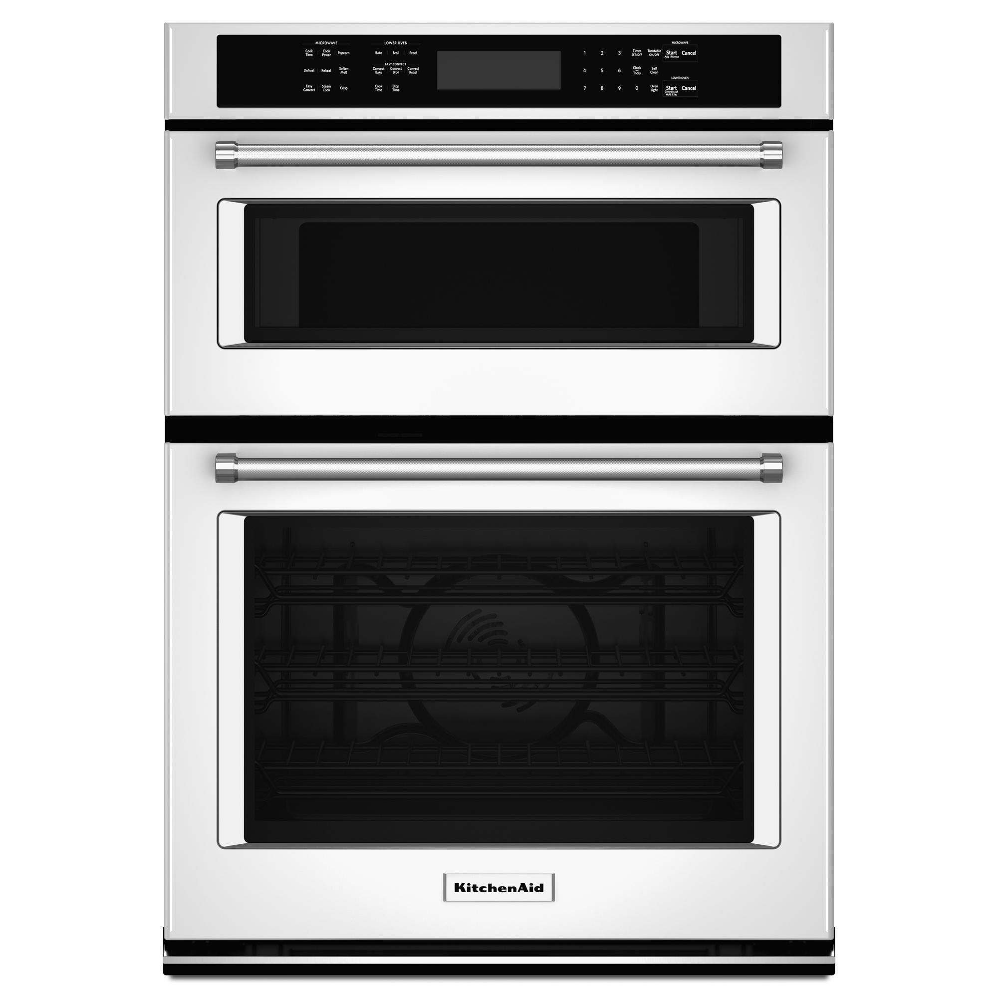 "Kitchen Aid Wall Oven  KitchenAid KOCE507EWH 27"" Double Wall Oven w Even Heat"