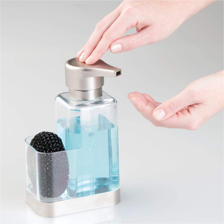 Kitchen Soap Caddy Organizer  Kitchen Sink Soap Dispenser with Sponge Holder Countertop