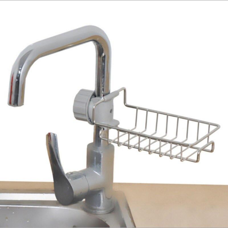 Kitchen Soap Caddy Organizer  Stainless Steel Kitchen Faucet Sponge Holder Adjustbale