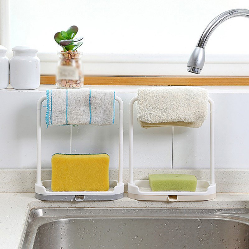 Kitchen Soap Caddy Organizer  Cleaning Cloth Rag Hanger 2 In 1 Multi function Kitchen