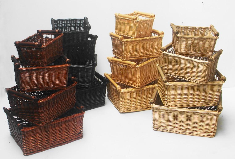 Kitchen Storage Baskets  KITCHEN LOG WICKER STORAGE BASKET WITH HANDLES XMAS EMPTY