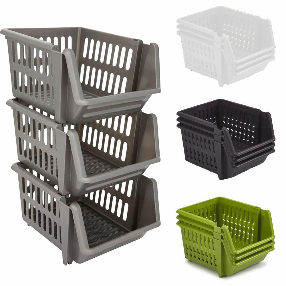 Kitchen Storage Baskets  Set of 3 Stackable Storage Basket Kitchen Fruit Ve able
