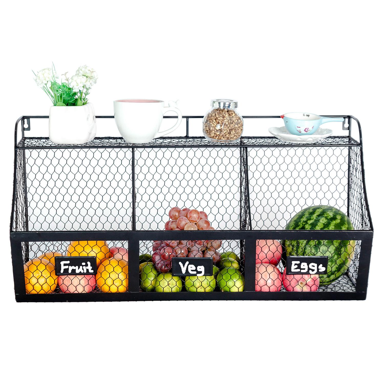 Kitchen Storage Baskets  3 partment Kitchen Basket Wall Mount Metal