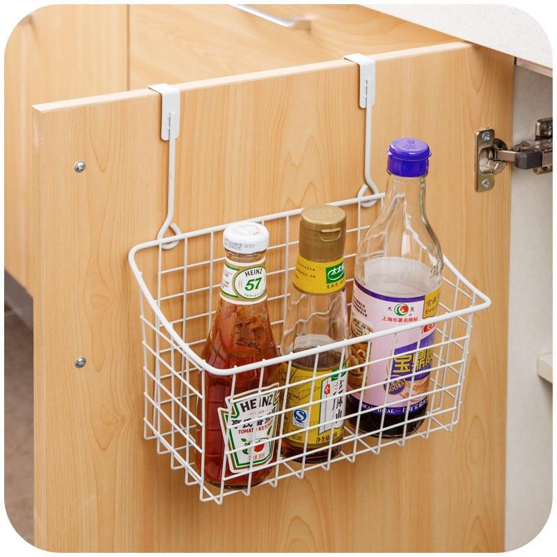 Kitchen Storage Baskets  Creative Metal Over Door Storage Basket Practical Kitchen