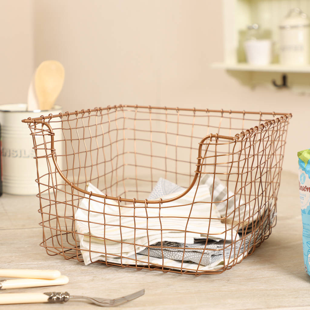 Kitchen Storage Baskets  copper wire kitchen storage basket by dibor