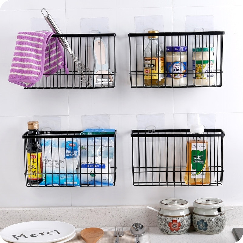 Kitchen Storage Baskets  Iron Kitchen Storage Basket Sundries Wall Organizer Rack