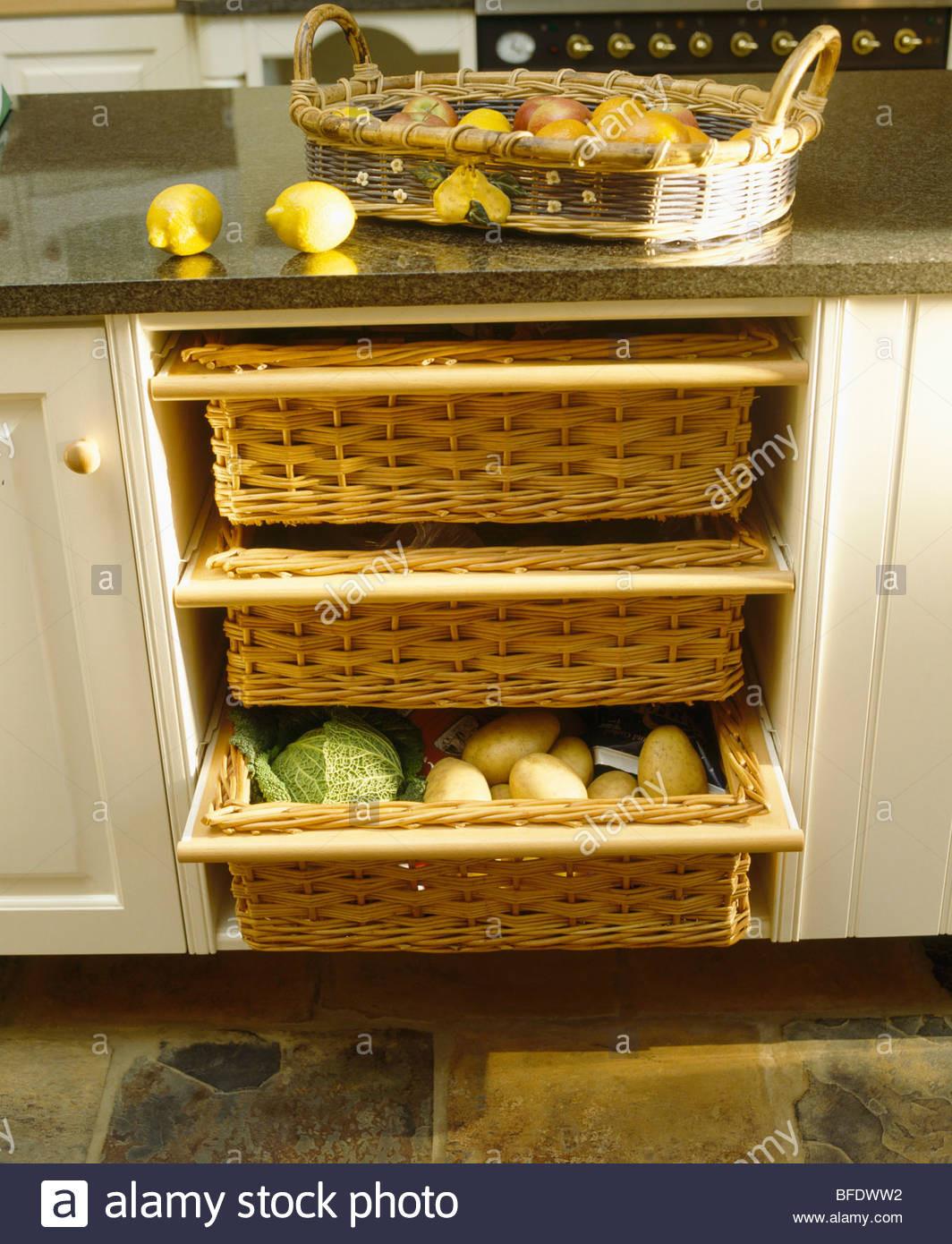 Kitchen Storage Baskets  Close up of kitchen storage baskets in cream fitted unit