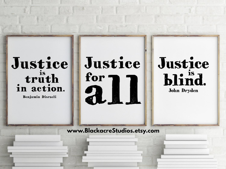 Law School Graduation Quotes  Justice Print Set Law School Graduation Gift Inspirational