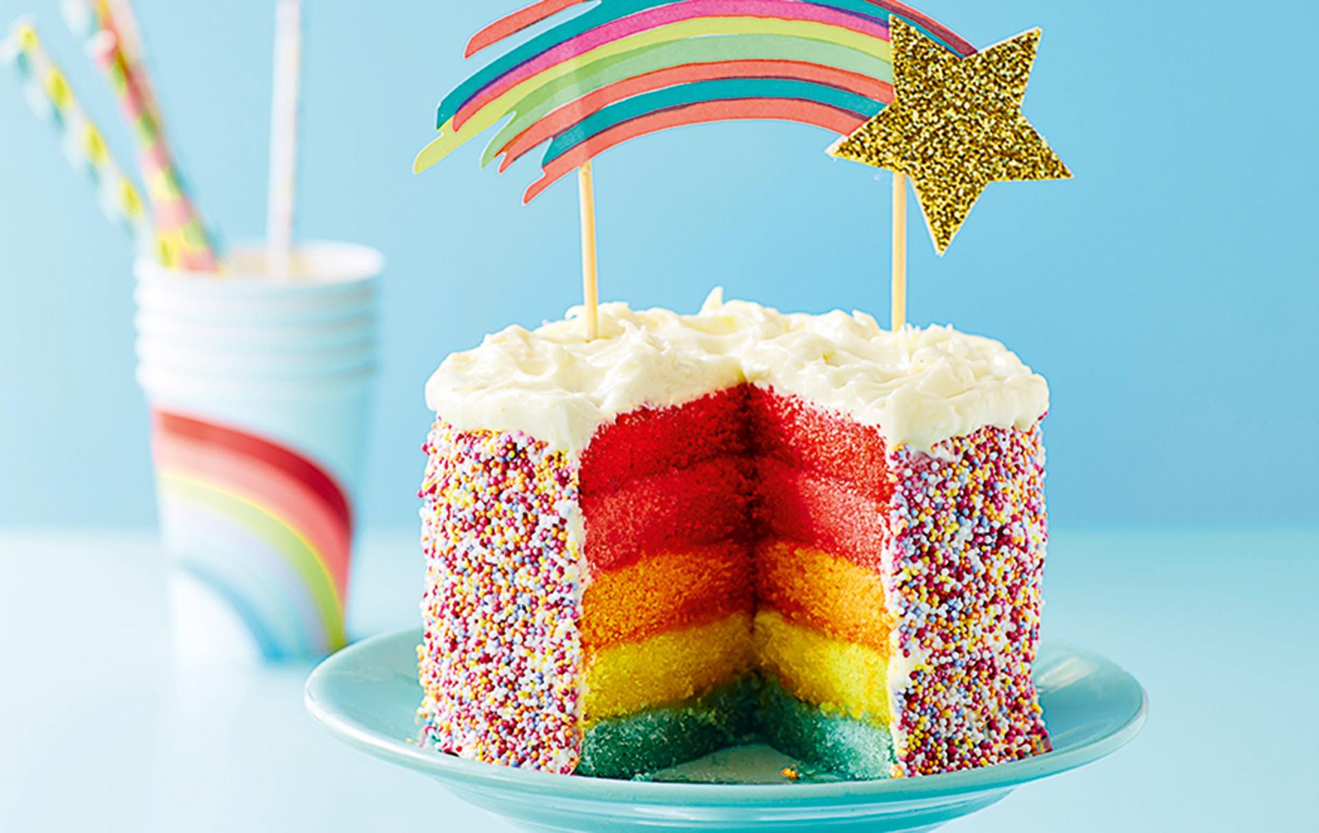 Layered Birthday Cake Recipes  Rainbow Layer Cake American Recipes