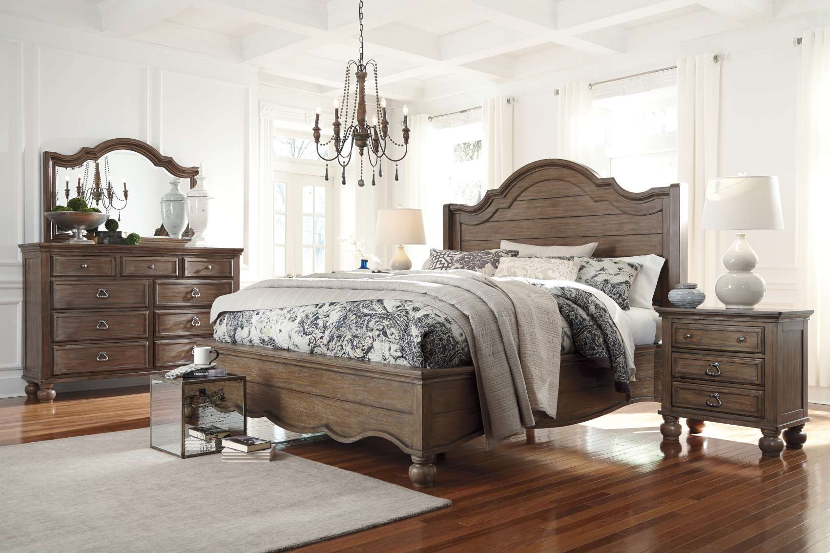 """Light Brown Bedroom  Tanshire Light Brown """"Tanshire Bedroom Collection"""