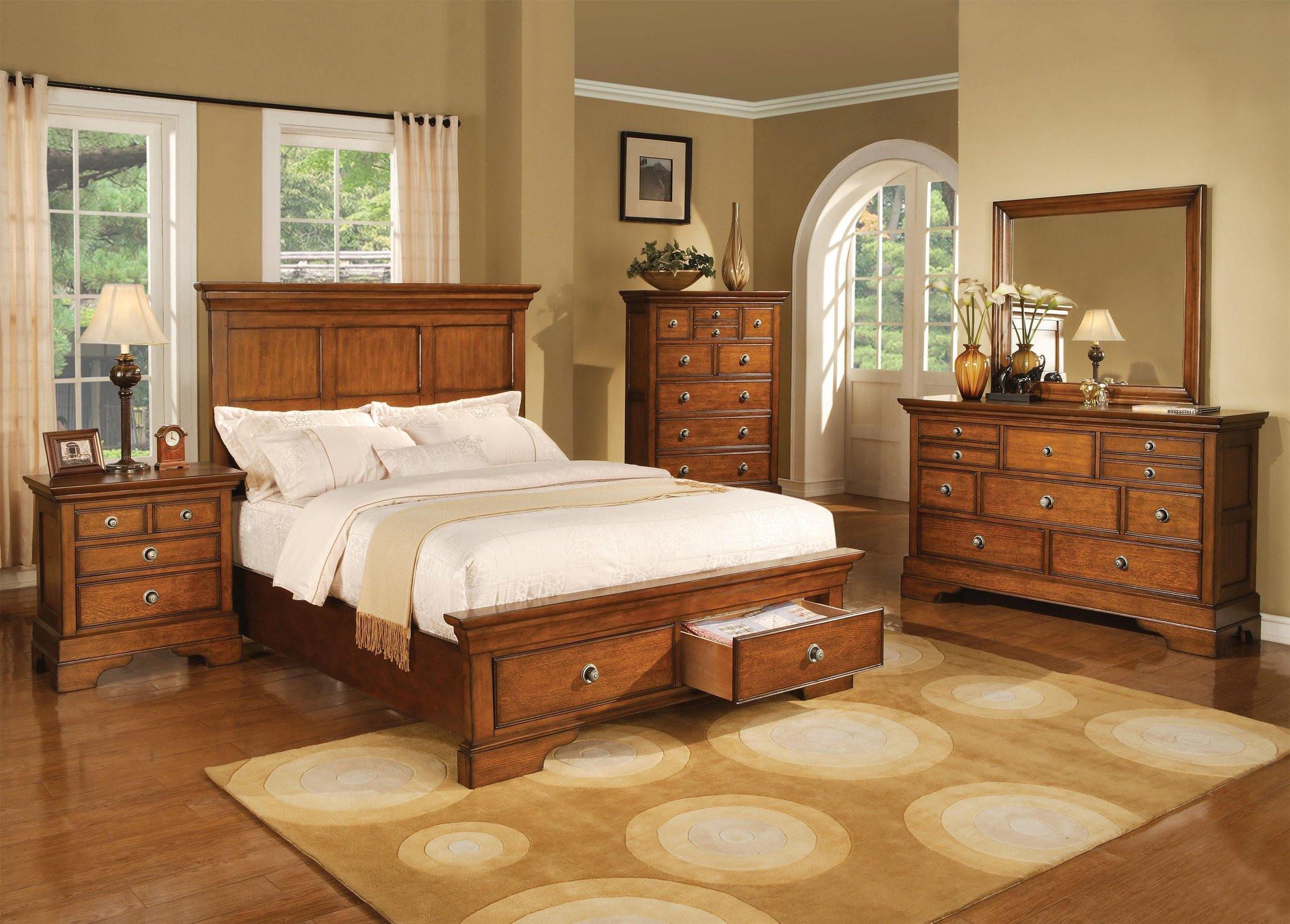 Light Brown Bedroom  King Panel Bedroom Set In Light Brown Finish
