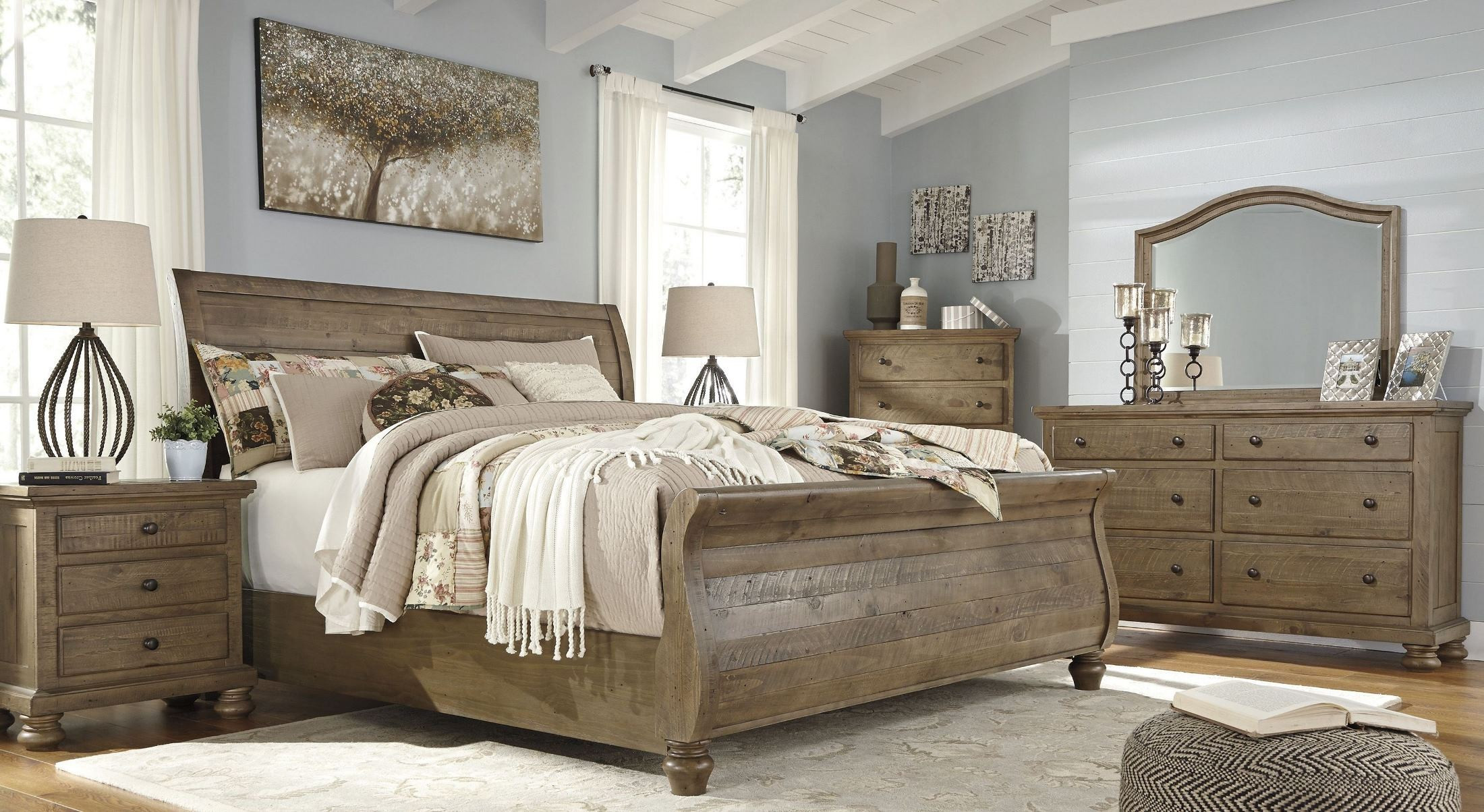 Light Brown Bedroom  Trishley Light Brown Sleigh Bedroom Set B659 77 74 98 Ashley