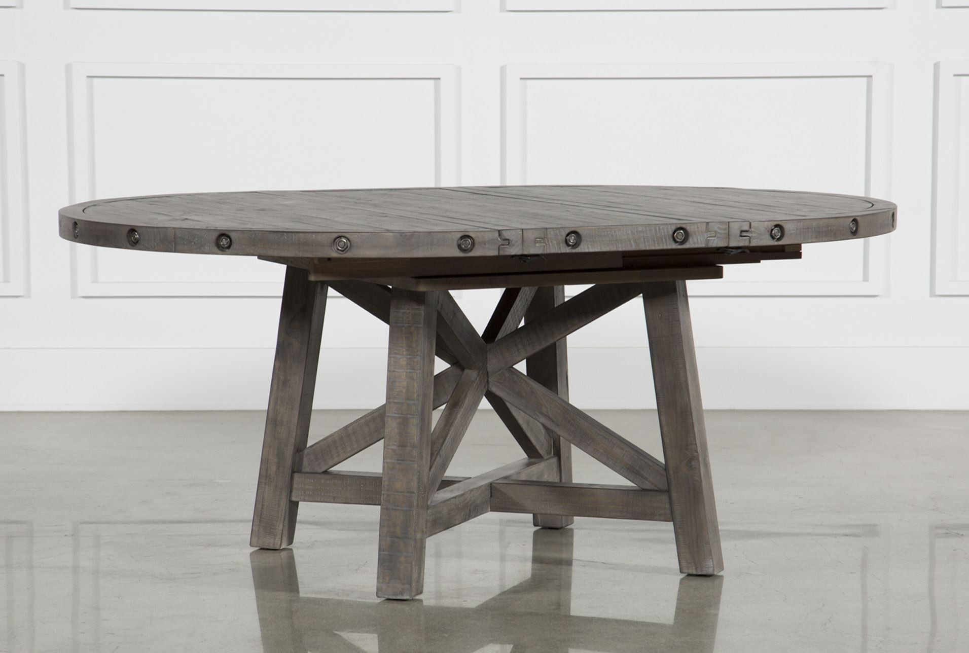 Living Spaces Kitchen Tables  Jaxon Grey Round Extension Dining Table Living Spaces