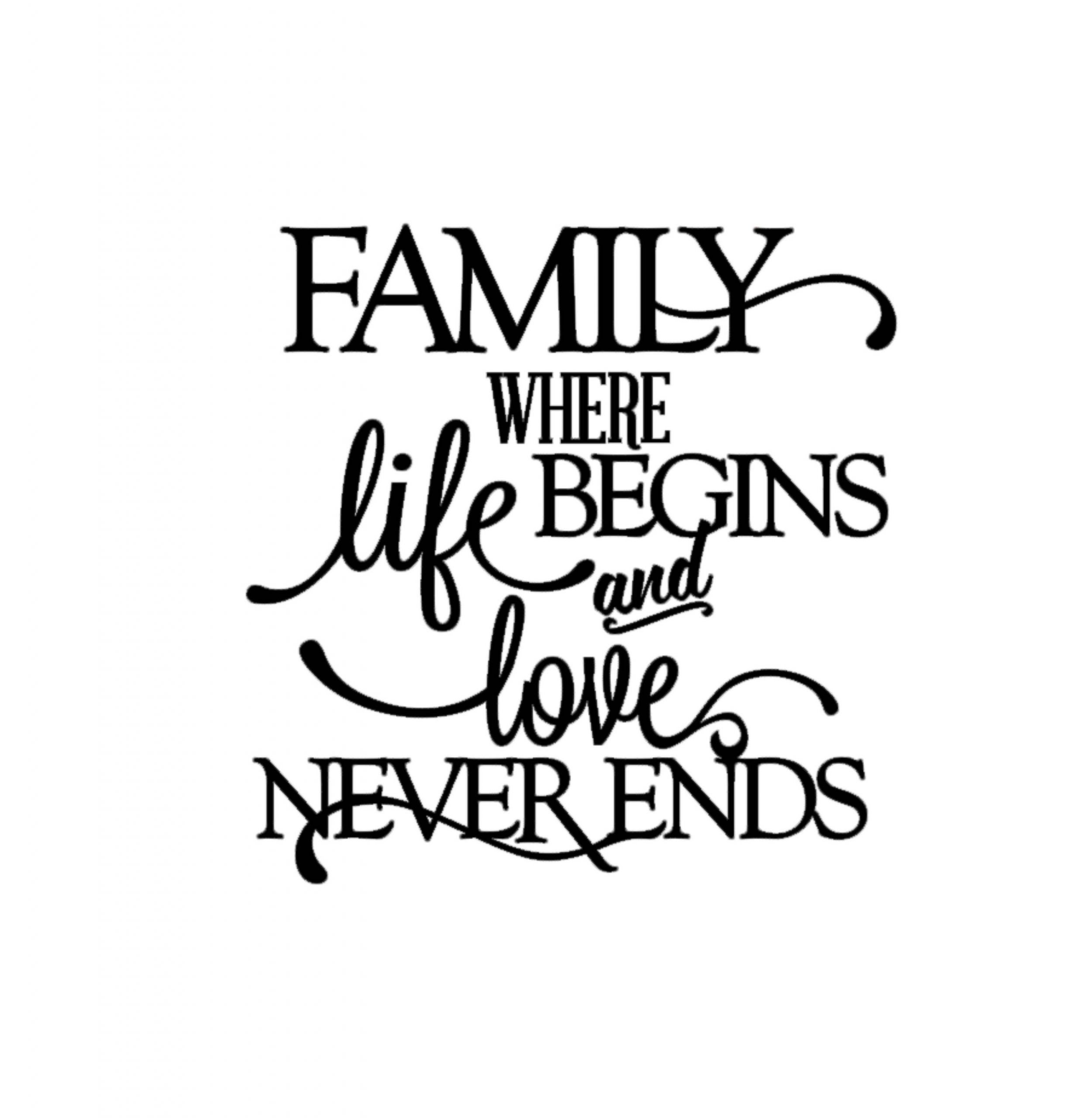 Love Family Quotes  Family Where Life Begins and Love Never Ends Quote Decal