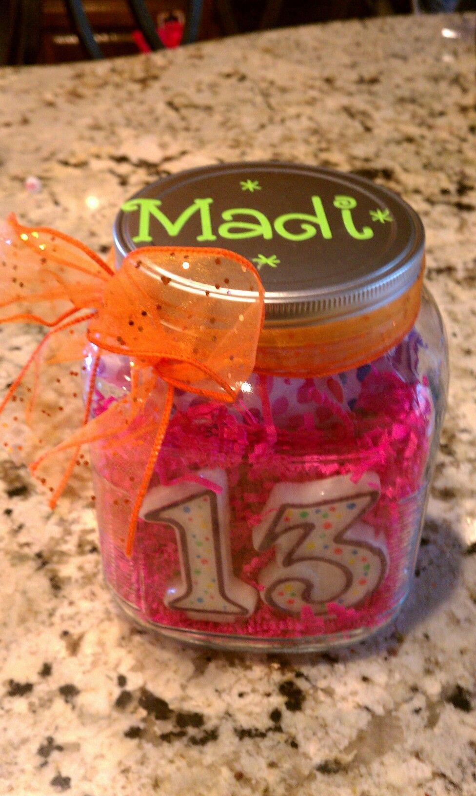 Mason Jar Birthday Gift Ideas  13th bday party present n jar ay candles t