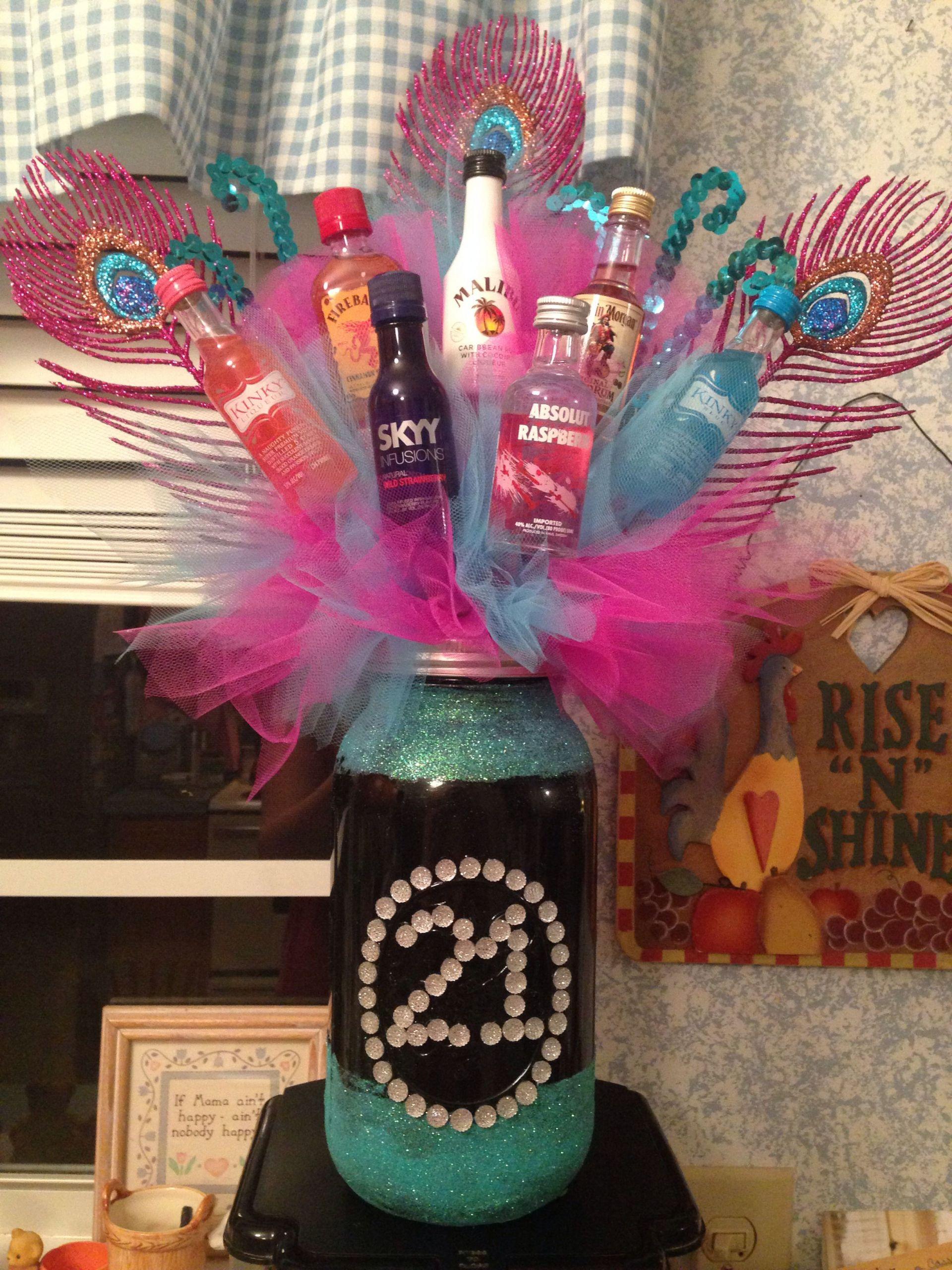 Mason Jar Birthday Gift Ideas  21st birthday liquor bouquet in mason jar