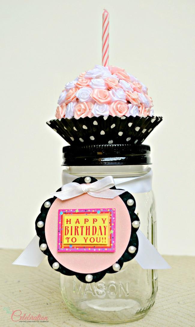 "Mason Jar Birthday Gift Ideas  DIY Birthday ""Cupcake"" Mason Jar Little Miss Celebration"